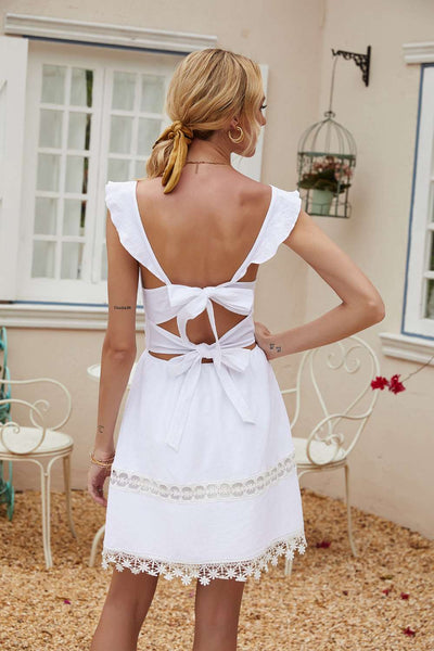 Fashion Pure Square collar Vest Tassels Backless Skater Dresses