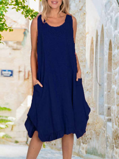 Casual Loose Pure Round neck Sleeveless Falbala Maxi Dresses