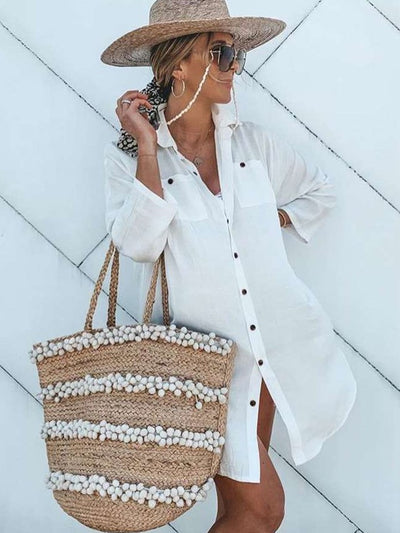 Casual Loose Pure Lapel Long sleeve Long Blouses