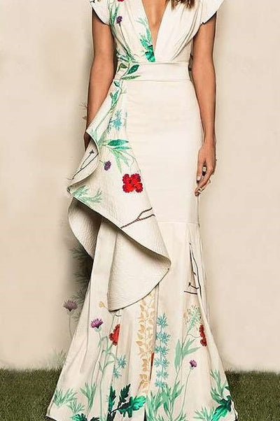 Fashion Sexy Print V neck Falbala Fishtail Evening Dresses