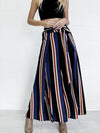 Loose Fit Bow Tie Striped Print Wide Leg Pants High Side Slit Drawstring
