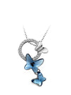 Blue Alloy Flower Glass Necklace