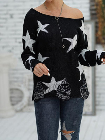 Women star printed off shoulder long sleeve knit sweaters