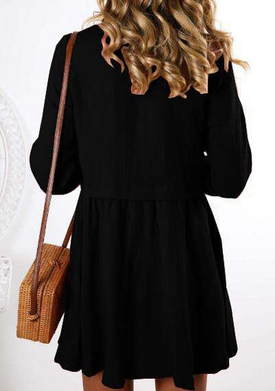 Fashion Casual Pure V neck Long sleeve Gored Fastener Skirt Shift Dresses