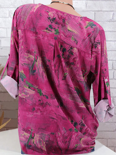 Vintage Loose Printed Woman Blouse