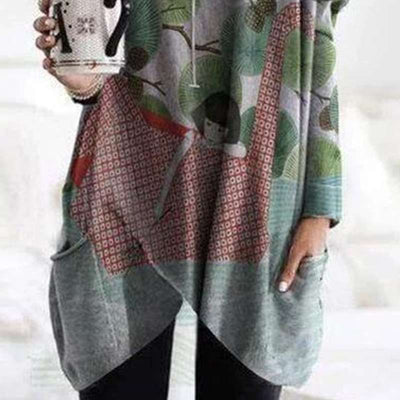 Fashion Print V neck Long sleeve Pocket Irrgular Long T-Shirts
