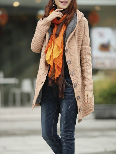 Long Sleeve Casual Buttoned Knitted Hoodie Cardigan Coats