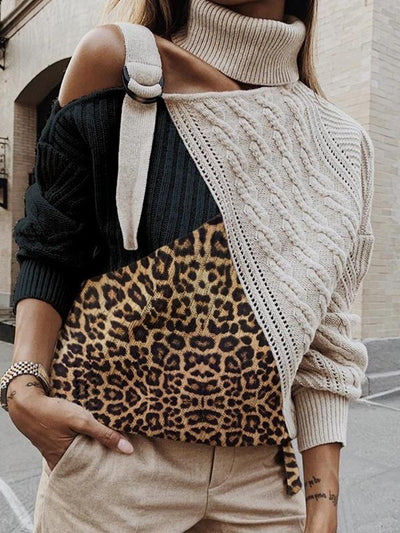 Stylish chic women high neck leopard printed long sleeve sweaters