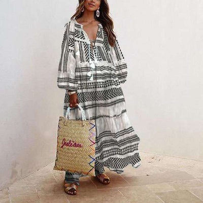 Casual Loose Print V neck Long sleeve Maxi Dresses