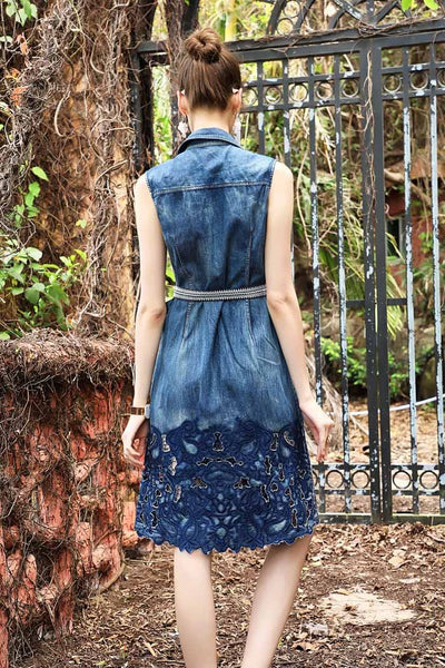 Sleeveless hollow embroidery denim midi dress