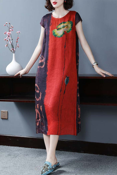 Short sleeve printed silk midi dress