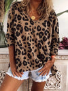 Casual Loose V neck Leopard print Long sleeve T-Shirts