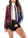 Fashion Woman Autumn Vertical Stripes Jackets