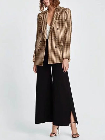 Fashion Vintage Grid Kahki Woman Blazer