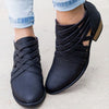 Plus Size Criss-Cross Ankle Heel Booties Hollow-out  Woman PU Boots