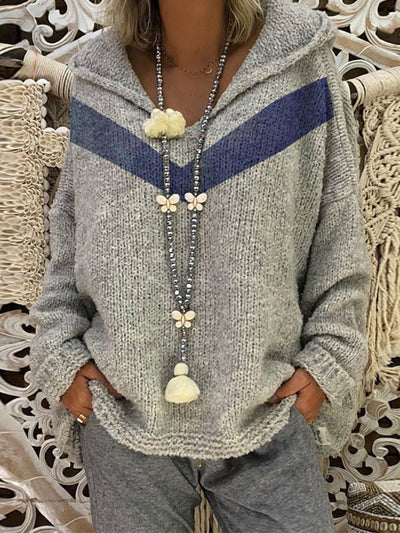 Matching Hooded Long Sleeve Knitted Sweater