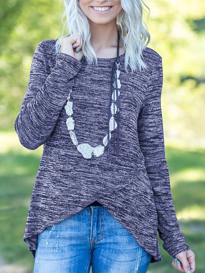 Plain Long Sleeve Daily Casual Sweater