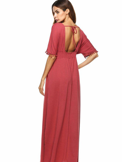 Simple Red V-Neck Short Sleeve Elastic Waist Evening Dress
