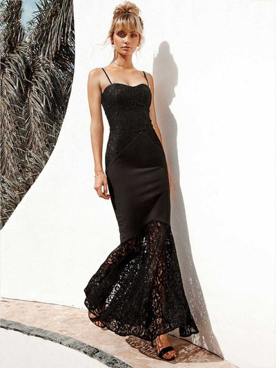Lace Spaghetti-neck Mermaid Evening Dress