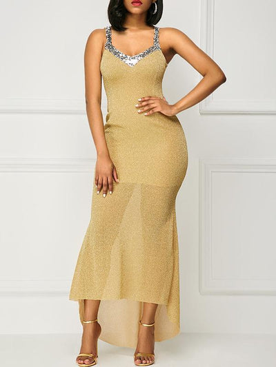 Spaghetti-neck Sequined Evening Dress