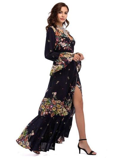 Printed Split-side V-neck Wrap Maxi Dress