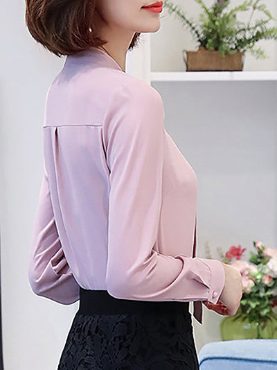 V-neck Shift Long Sleeve Plain Blouse