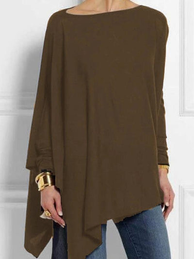 Irregular solid color pullover casual blouses