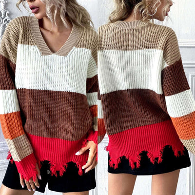Fashion Casual Stripre V neck Long sleeve Macrame Sweaters