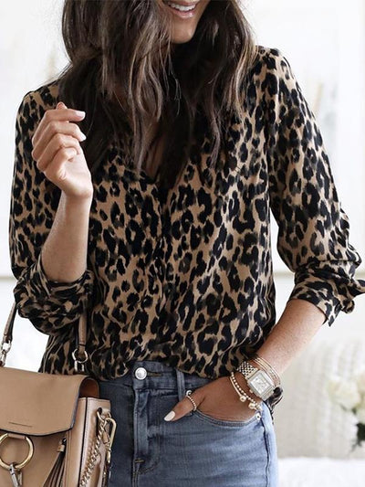 Casual button leopard print top long sleeve Blouses