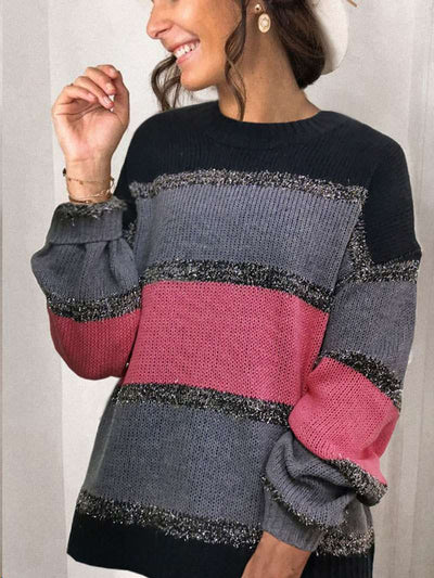 Fashion Casual Gored Round enck Long sleeve Knit Sweaters