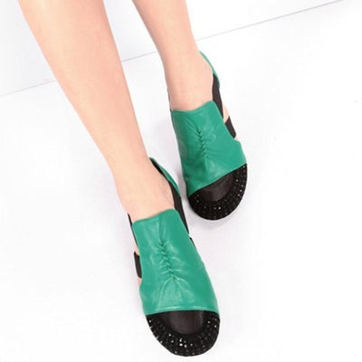 Casual Flat Heel Summer Artificial Leather Flat For Woman