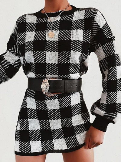 Contrast color plaid long-sleeved shift dress