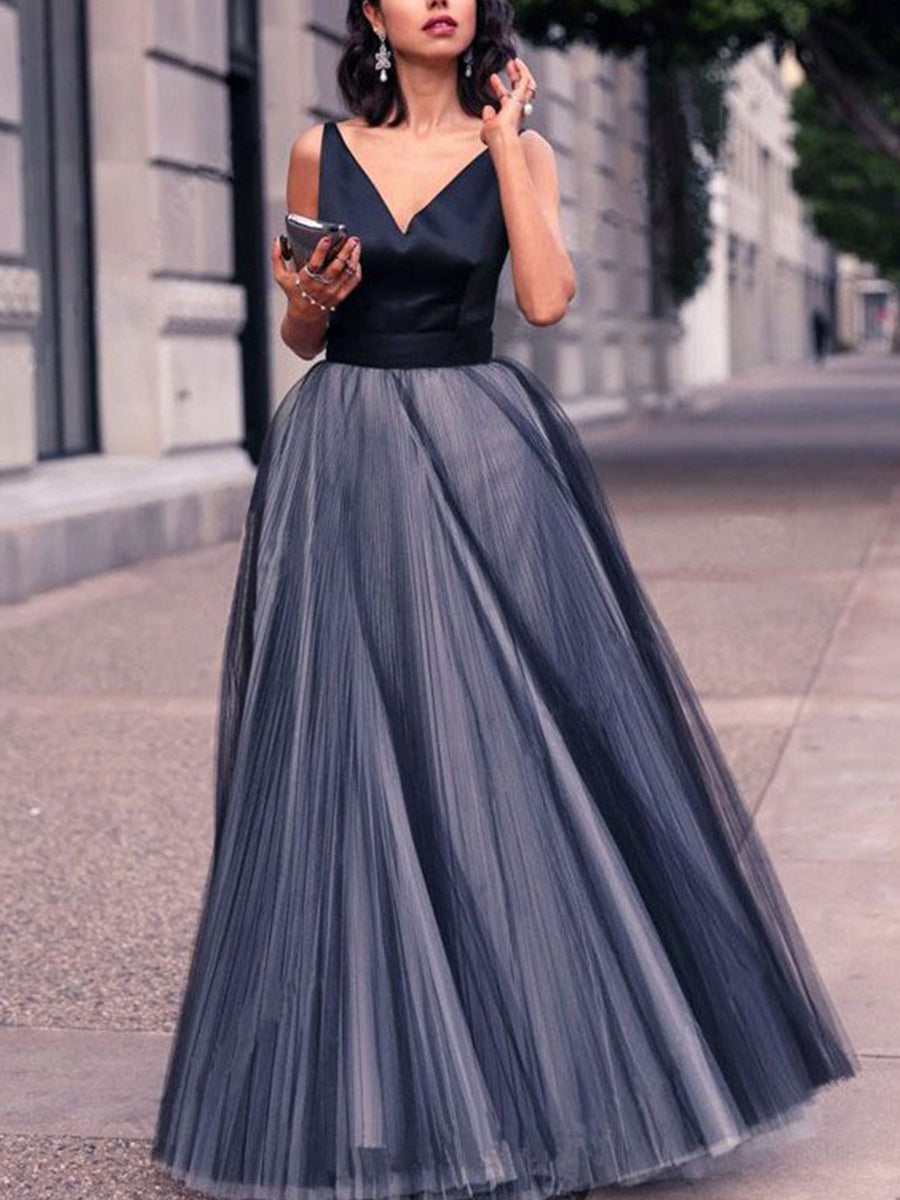 a6ff369415b Black V Neck Woman Sexy Elegant With Bowknot Evening Dress