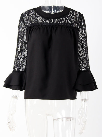 Black Casual Paneled Blouse