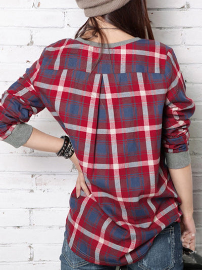 Gray Paneled Crew Neck High Low Checkered Blouse