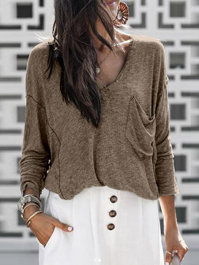 V Neck Long Sleeve Plain Daily With Pocket Woman Knitting Sweater