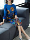 Royal blue Shift Daytime Casual Floral Plus Size Midi Dress