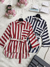 Long Sleeve Stripes Shirt Collar High Low Plus Size Shirt