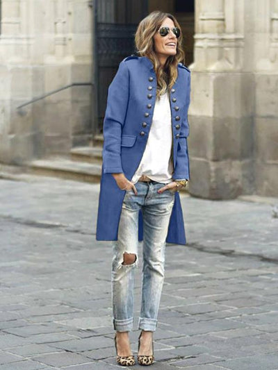 Stylish button stand up collar long sleeve blazer coats