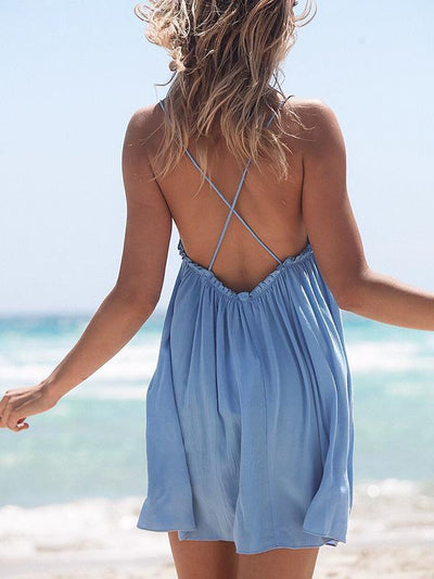 Solid Color Backless Mini Dress