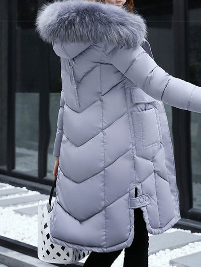 Fashionable Long Wool- like Collar Down Polyester Jacket Long Coats