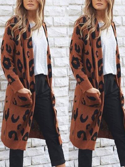 Long Style Sexy Leopard Sweater Fall Style Woman Coats Cardigans
