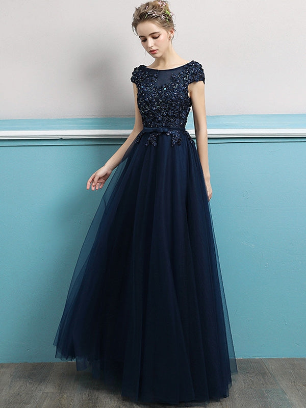 8484b06f4f0 Embroidery Sequined Solid Color Sleeveless Tulle Stitching Prom Dresses