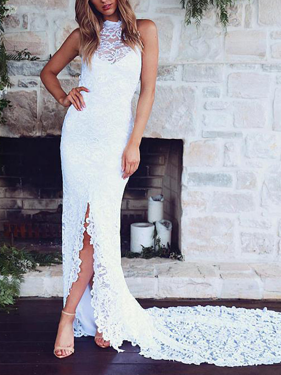 78130cafb23 Lace Mermaid Slim Fit Sleeveless Backless Evening Dress