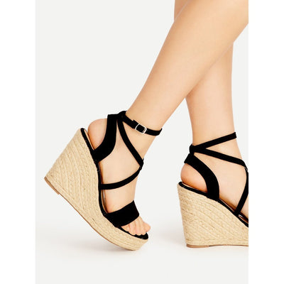 Cross Strap Espadrille Wedges - Anabella's