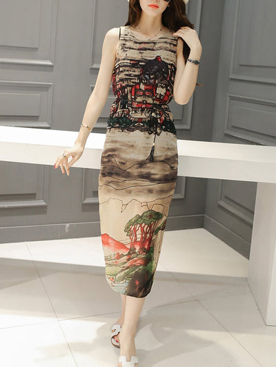 Awesome Printed  Round Neck  Slit  Chiffon Maxi Dress
