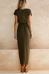 Asymmetric Hem  Plain  Short Sleeve Maxi  pure color Dresses