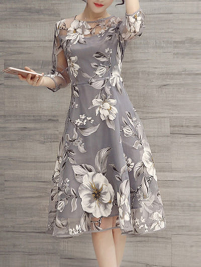 Fashion Floral Printed See-Through Midi Skater Dress