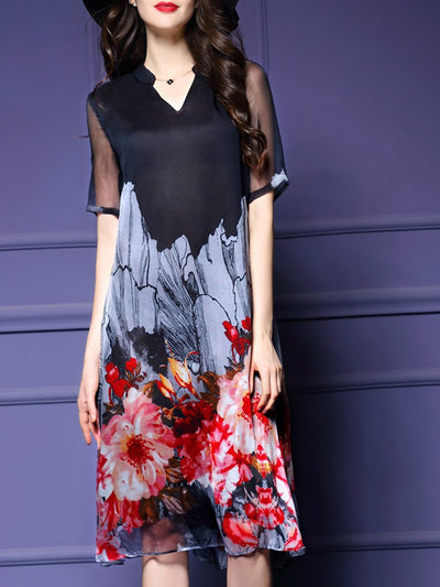 V-Neck Floral Printed Midi Shift Dress
