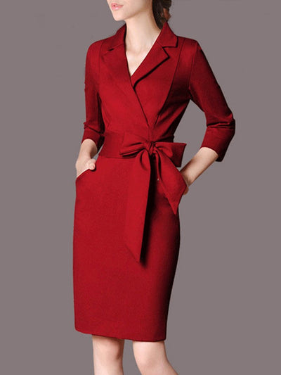 Lapel Bowknot Plain Pocket Bodycon Dress